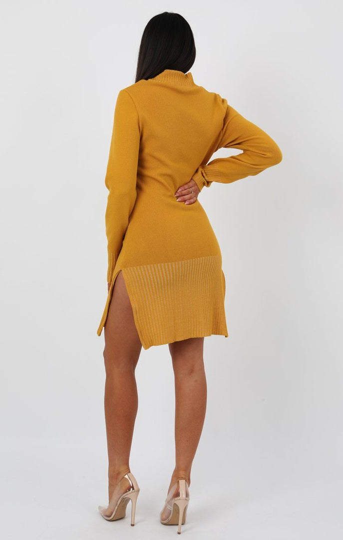 Mustard Side Split High Neck Ribbed Knit Dress - Tara