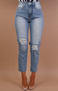 Light Denim Distressed Back Mom Jeans - Carla