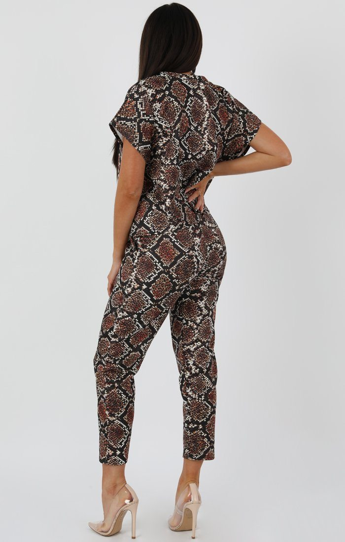 Snake Short Sleeve Boxy Loungewear Set - Lacy