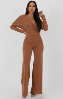 Camel-Ribbed-Long-Sleeved-Plunge-Jumpsuit-Cassie