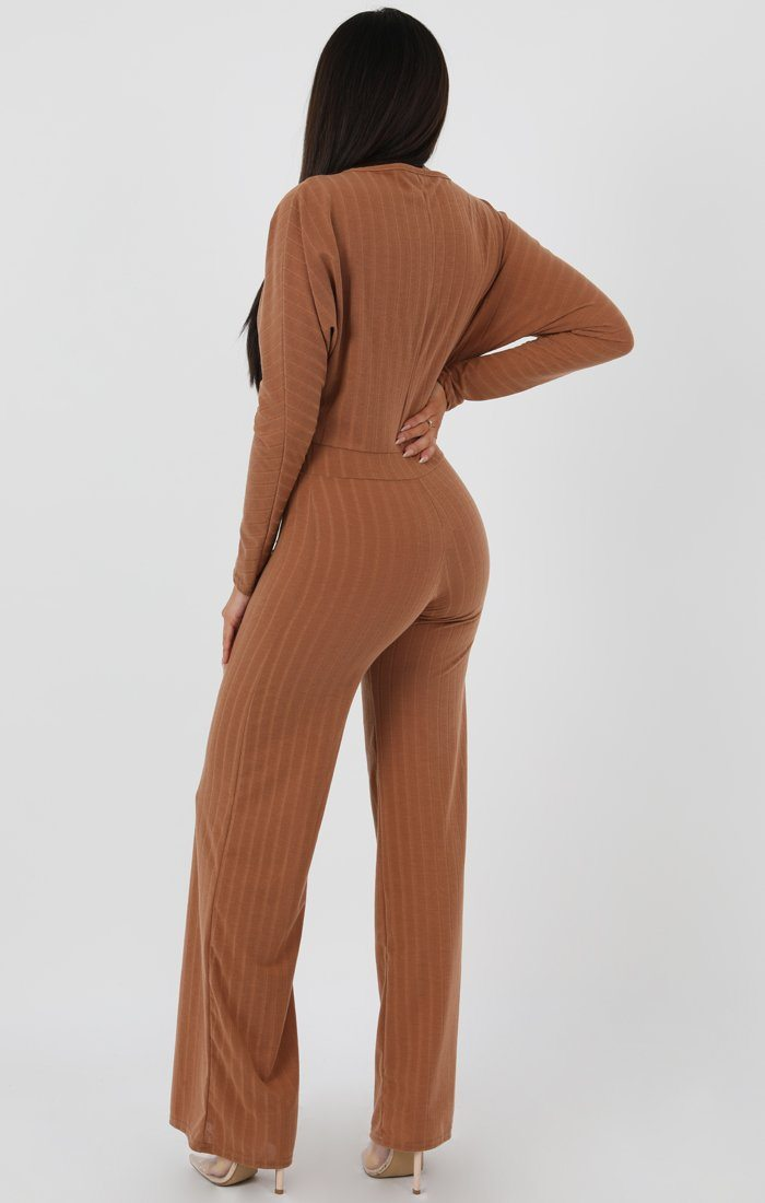 Camel Ribbed Long Sleeved Plunge Jumpsuit - Cassie