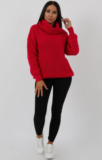 Fuchsia Knitted Oversized Polo Neck Jumper - Polly