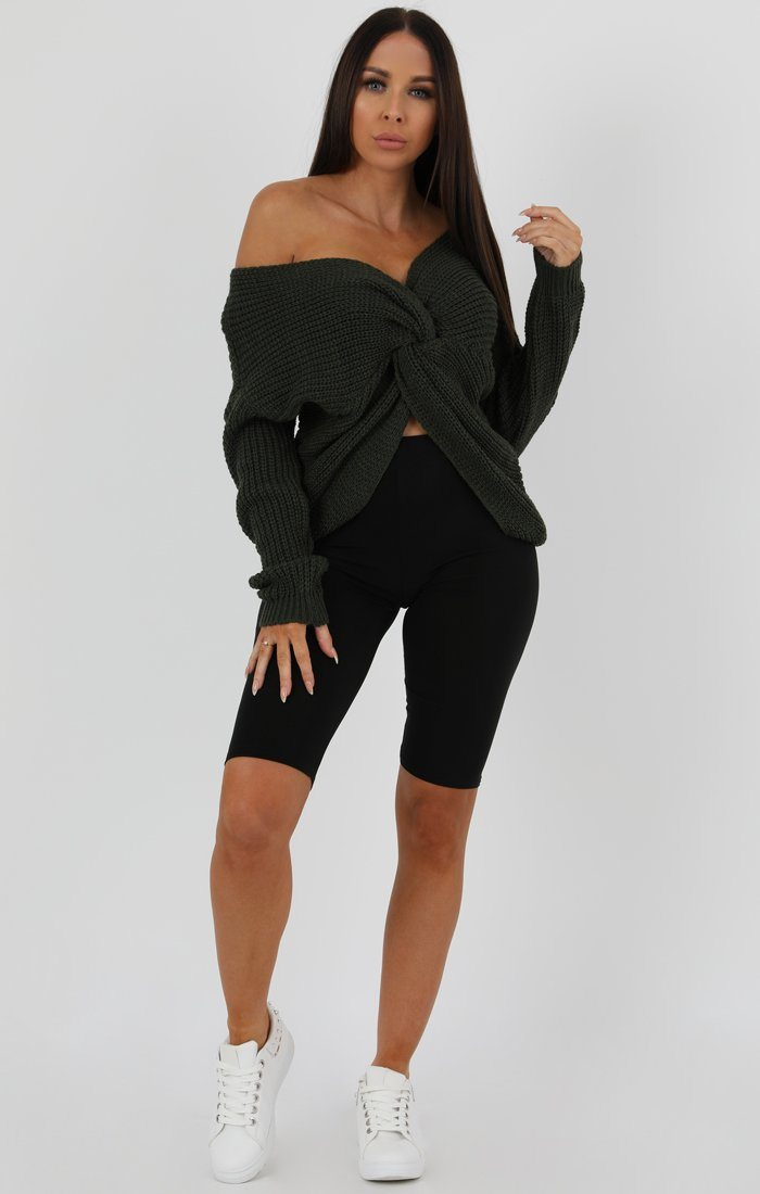 KHAKI-FRONT-WRAP-KNITTED-JUMPER