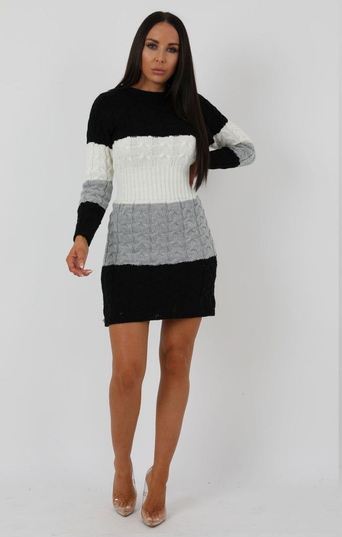 Stripe Black Cable Knit Jumper Dress - Winter