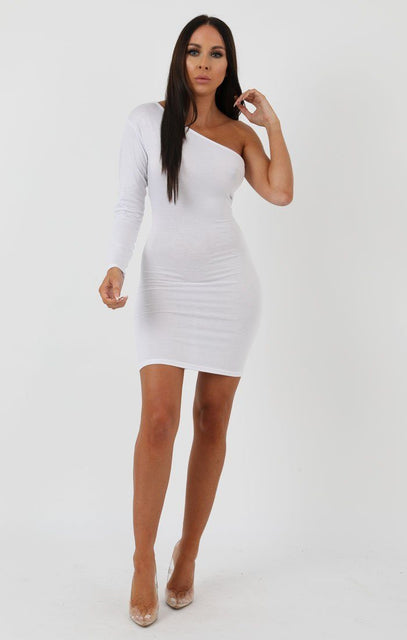 White One Shoulder Bodycon Dress - Rosa