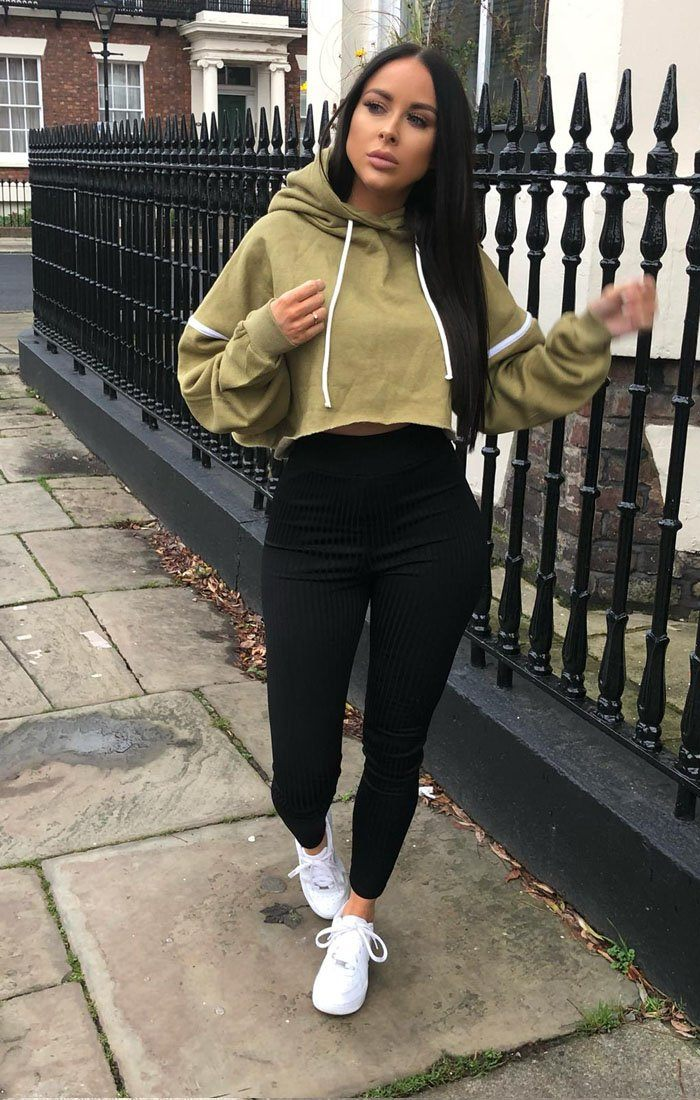 Khaki Stripe Hooded Crop Sweater Jumper - Gia jumpers FemmeLuxe