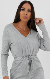 Grey Drawstring Loungewear Jumpsuit - Bessie