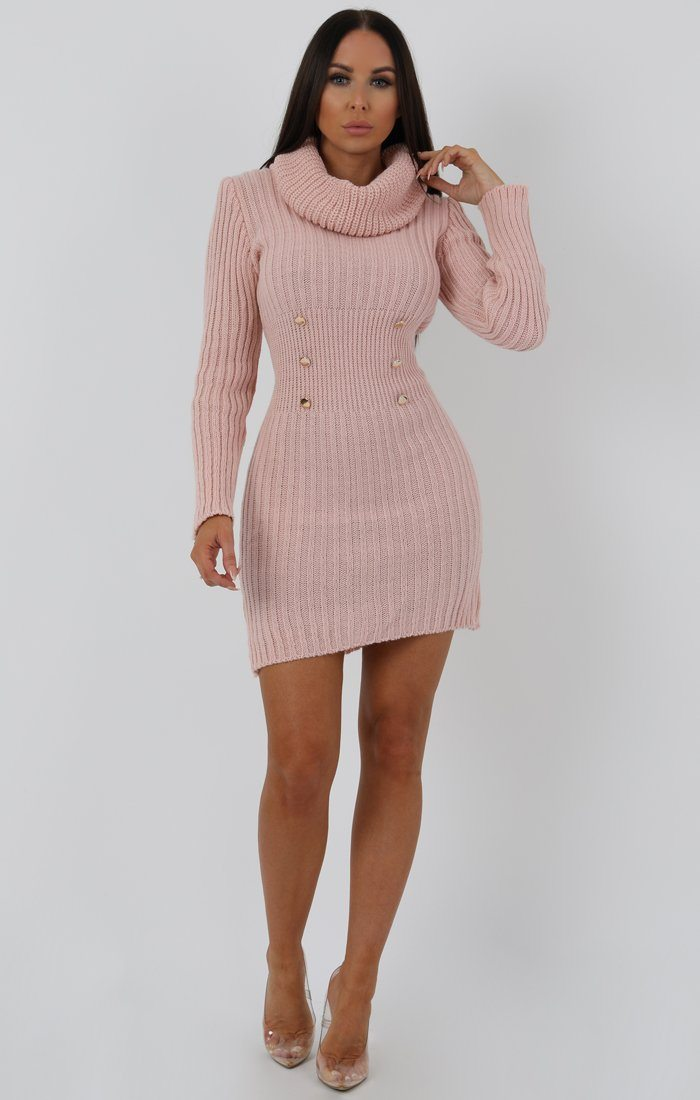 Rose Extreme Turtle Neck Knit Bodycon Dress - Amalie