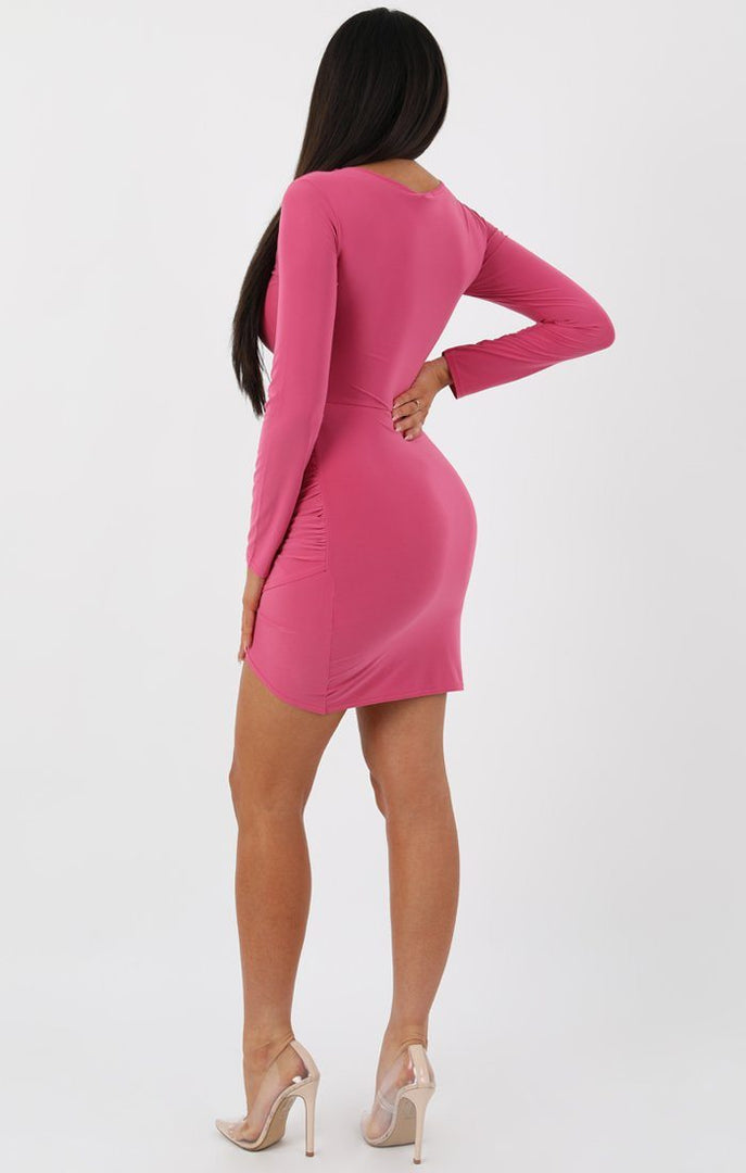 7a4135eec9 Rose Long Sleeve Cut out Knot Bodycon Dress - Fenela