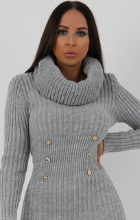 Grey-Extreme-Turtle-Neck-Knit-Bodycon-Dress-Amalie