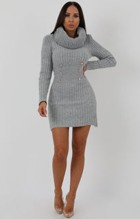 Grey Extreme Turtle Neck Knit Bodycon Dress - Amalie dresses FemmeLuxe