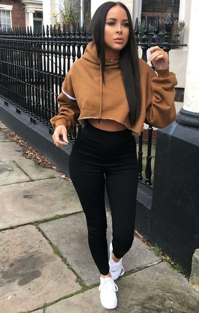 Brown Stripe Hooded Crop Sweater Jumper - Gia Jumpers FemmeLuxe