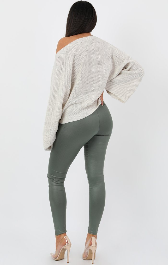 Khaki Faux Leather Look Leggings - Catriona