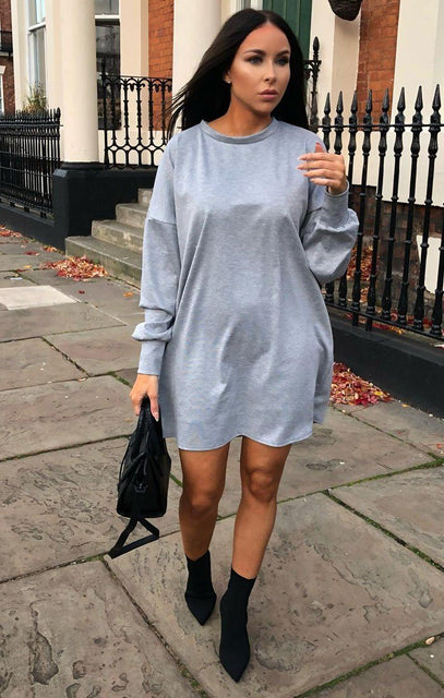 Grey Oversized Sweater Dress - Ola