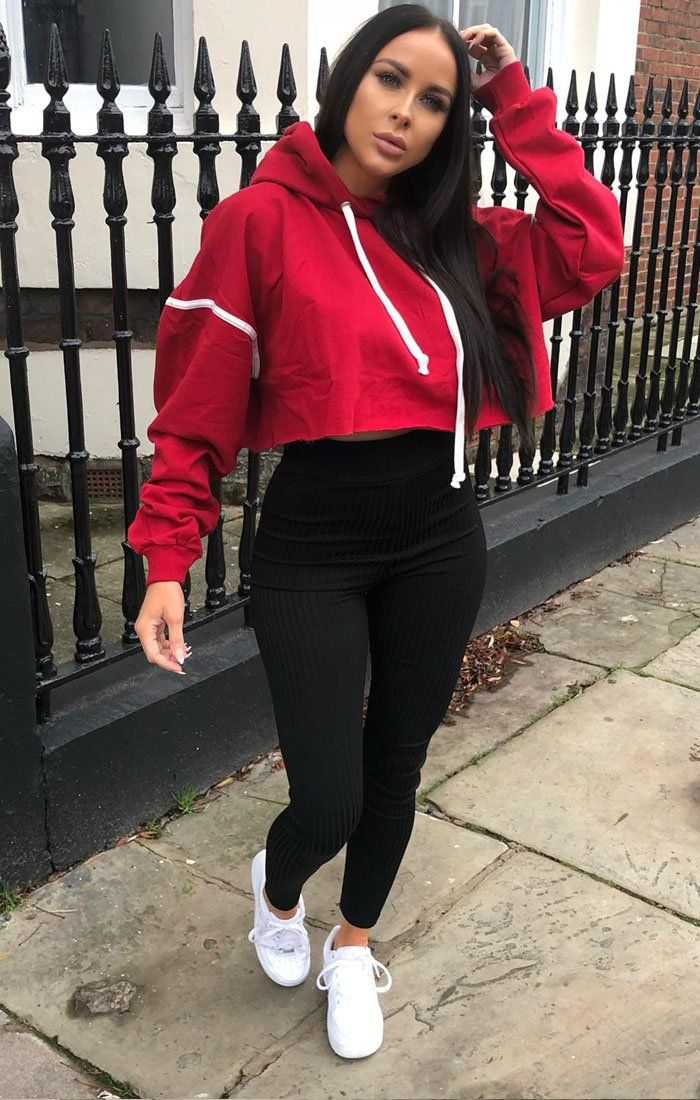 Red Stripe Hooded Crop Sweater Jumper - Gia jumpers FemmeLuxe