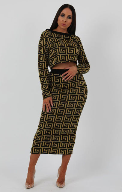 Mustard Black Patterned Knit Co-ord Set - Freya