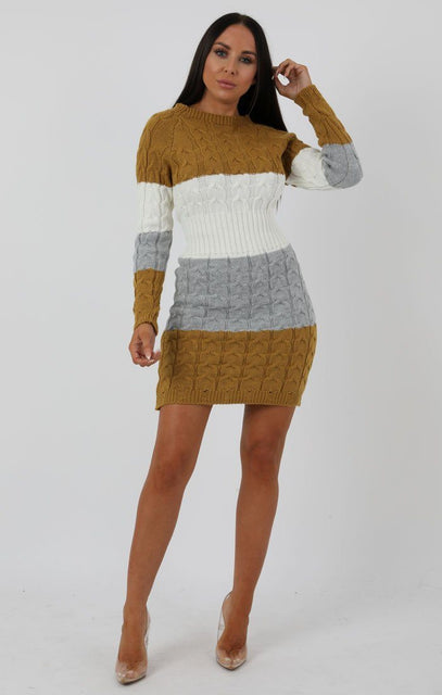 Stripe Mustard Cable Knit Jumper Dress - Winter