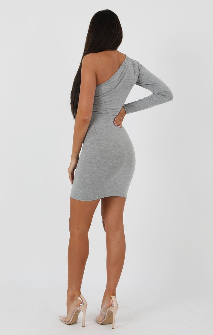 Grey One Shoulder Bodycon Dress - Rosa