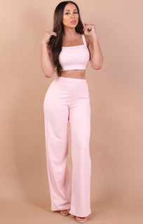 Pink Crop Top And Trousers Co-Ord Set