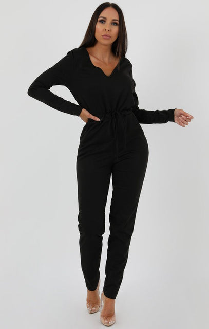 Black Drawstring Loungewear Jumpsuit - Bessie