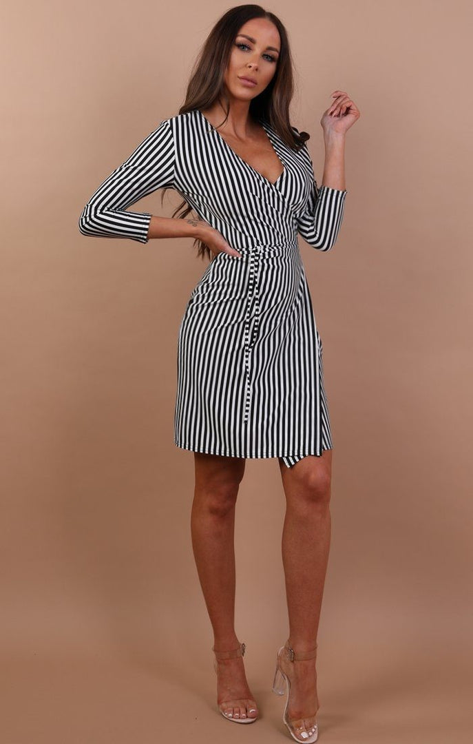 Black-and-White-Stripe-Front-Wrap-Tie-Dress