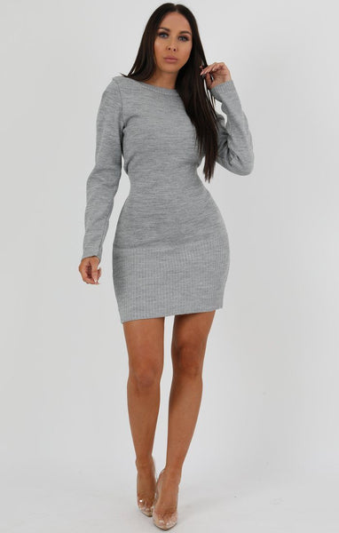 e5c42fcafb6 Grey Ribbed Knit Bodycon Dress - Tasha
