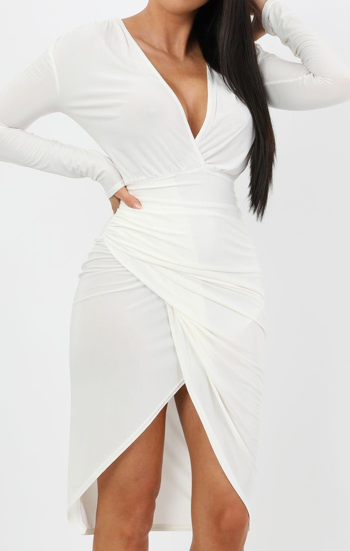 White Long Sleeve Slinky Wrap Midi Dress - Amelie