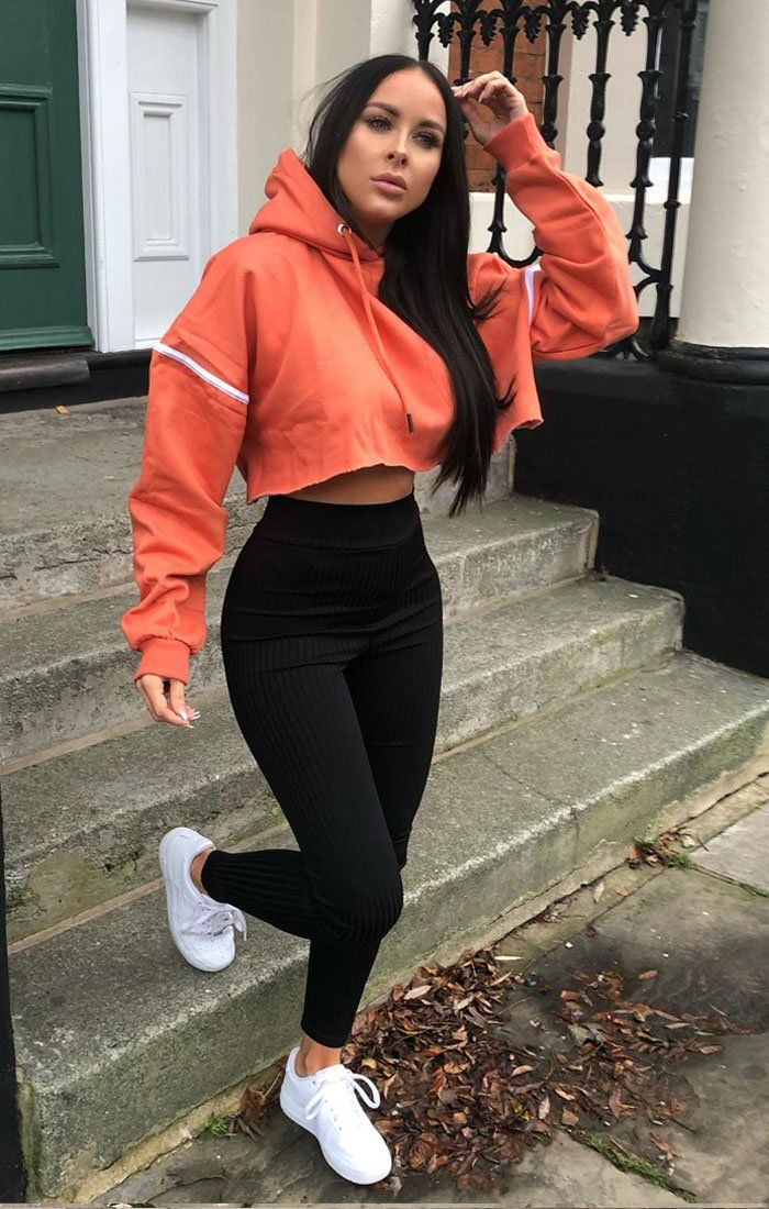 Orange Stripe Hooded Crop Sweater Jumper - Gia Jumpers FemmeLuxe