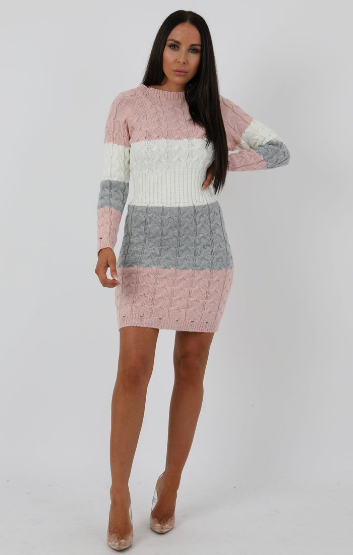 Stripe Rose Cable Knit Jumper Dress - Winter
