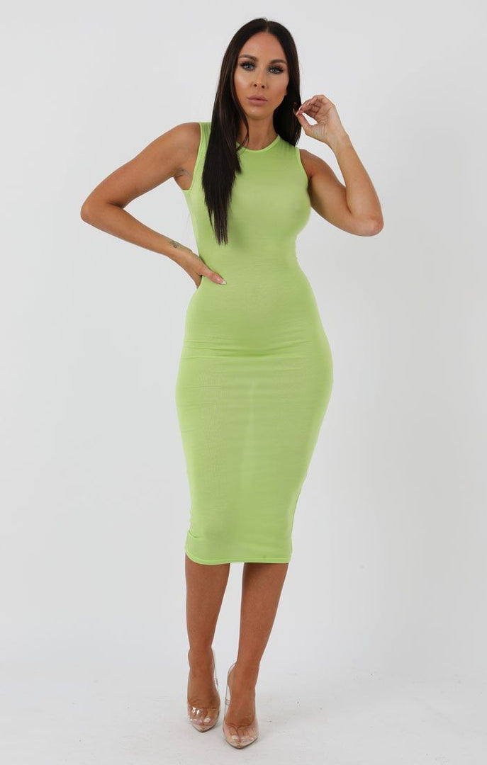 Lime High Neck Bodycon Midi Dress - Lucy