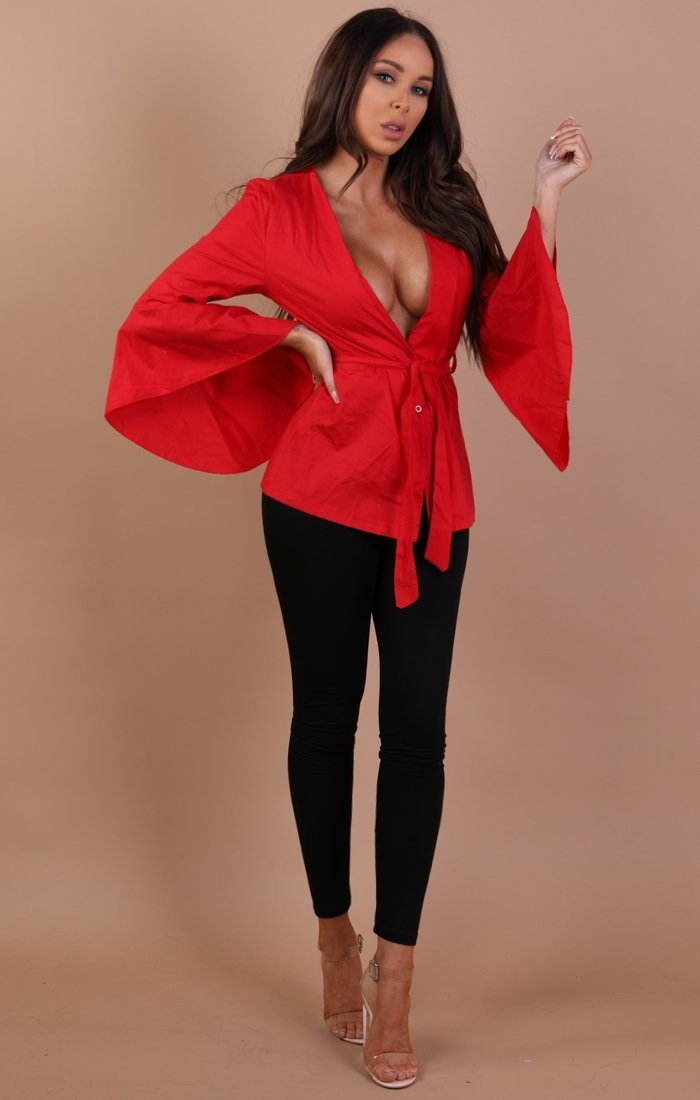 Red Wrap Over Top With Fare Sleeves – Maisie