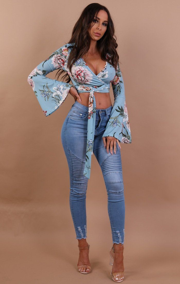 Pastel Blue Floral Bell Sleeve Crop Top - Marsha