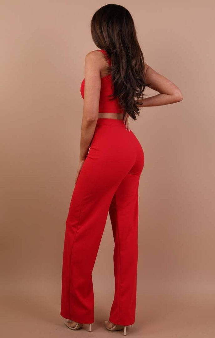 Red Crop Top And Trousers Co-ord Set