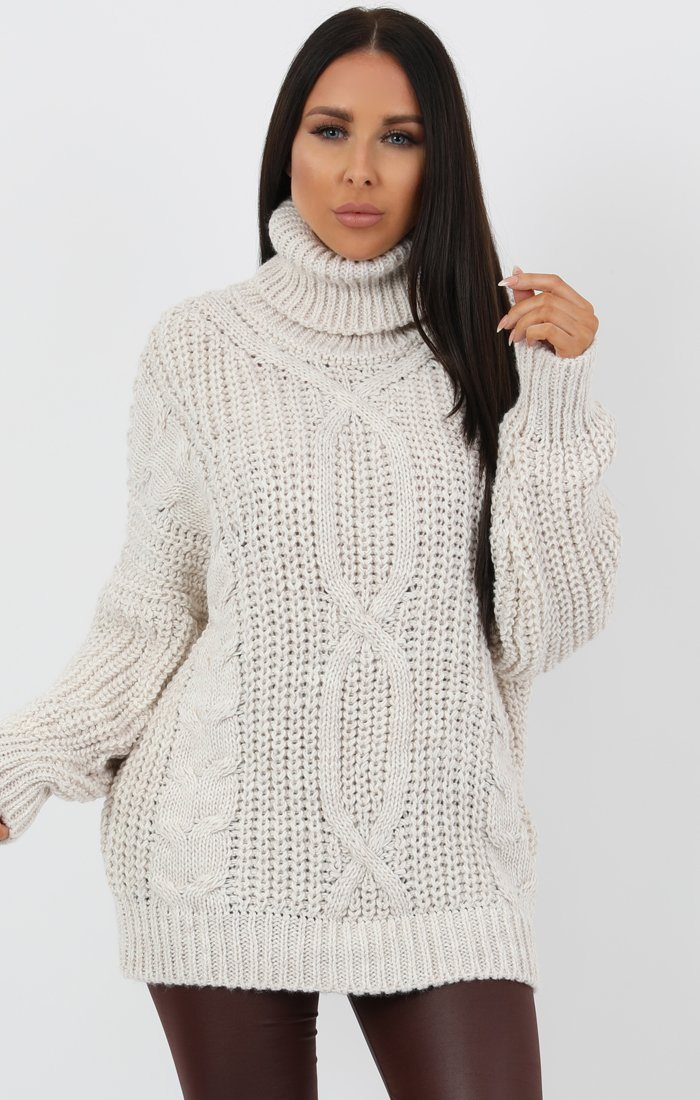 Stone Chunky Cable Knit Turtleneck Jumper Dress - Heidi