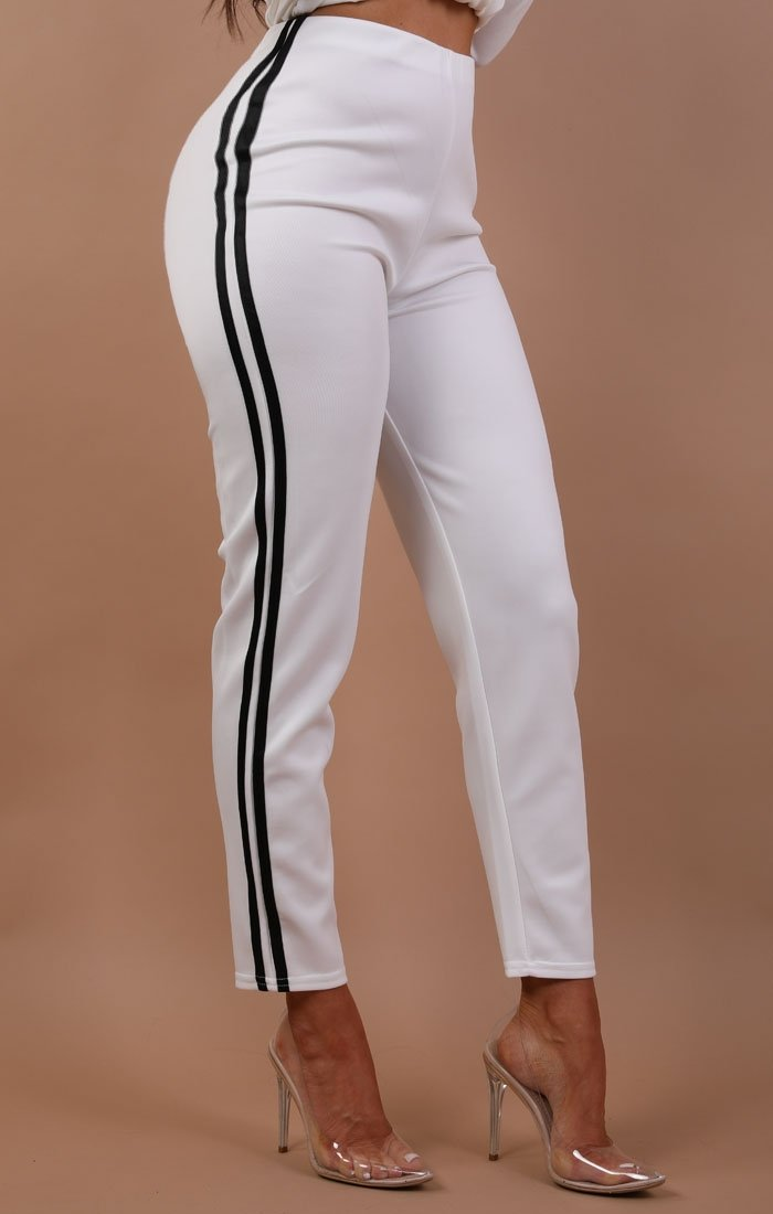 White With Black Stripe Joggers - Francesca