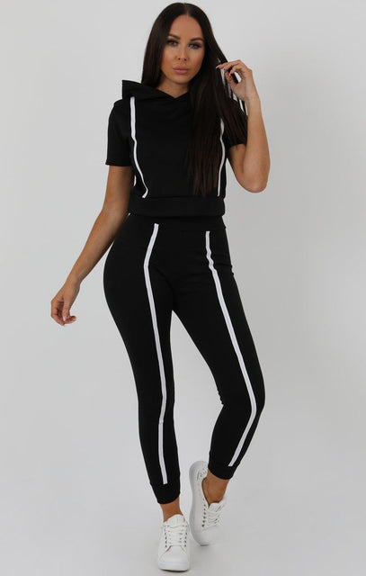 Black Stripe Hooded Crop Loungewear Set - Hallie