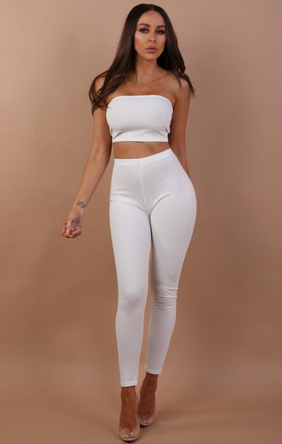 White Bandeau Two Piece Co-ord Set - Hadley