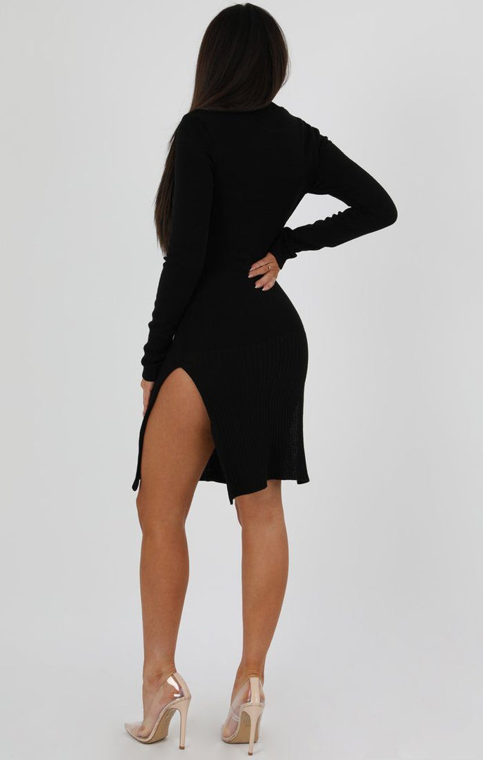 Black Side Split High Neck Ribbed Knit Dress - Tara