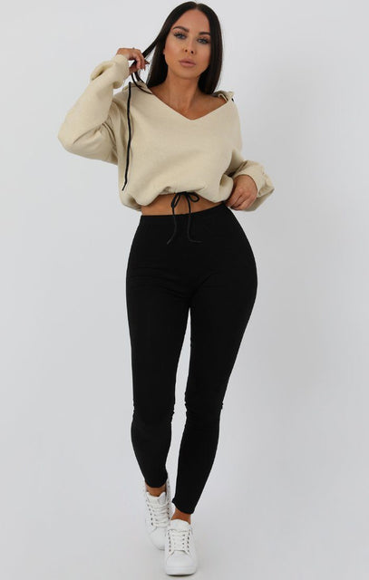 Camel V-Neck Crop Jumper - Cassidy
