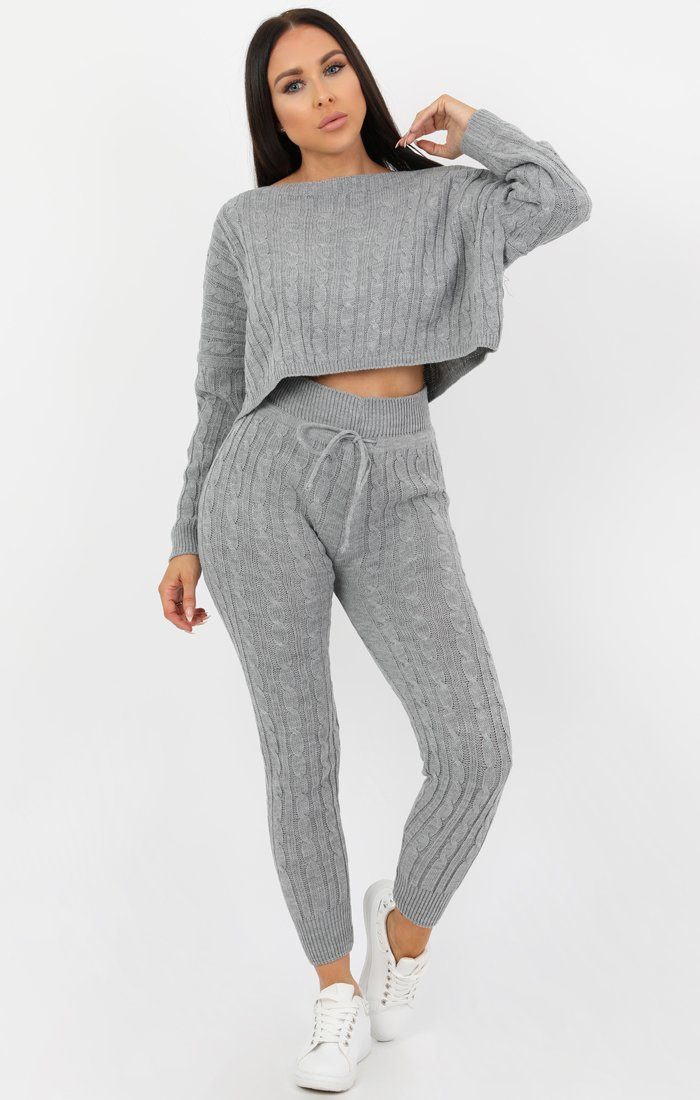Grey Cable Knit Loungewear Set - Robina Loungewear FemmeLuxe