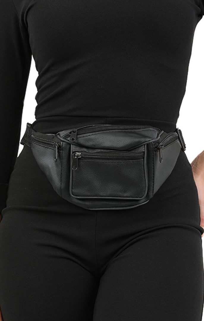 Black Zip Pockets Bum Bag - Parker