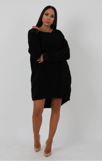 Black Teddy Oversized Jumper Dress - Taliana