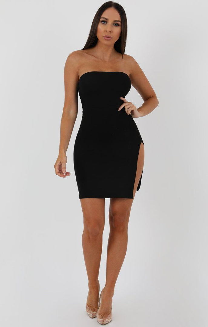 Black Split Side Bandeau Bodycon Dress - Lelia