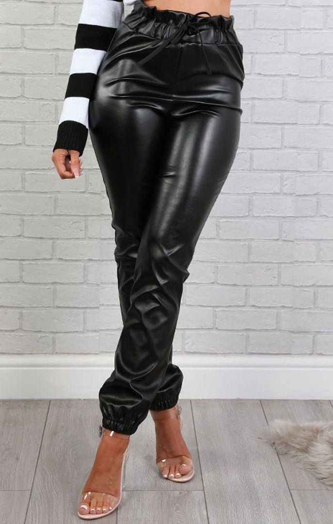 Black Faux Leather Paperbag Joggers