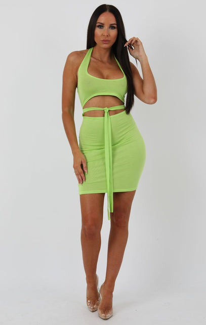 Lime Halterneck Cut Out Tie Detail Bodycon Dress - Louisa