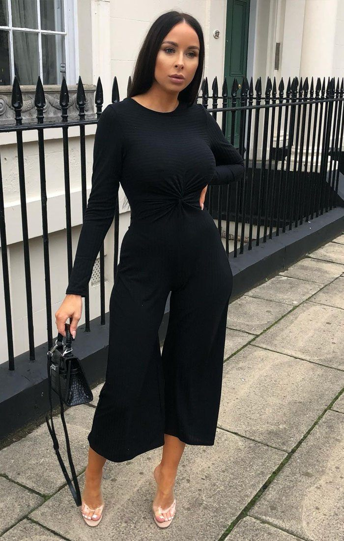 Black Front Twist Culotte Ribbed Jumpsuit - Fiona