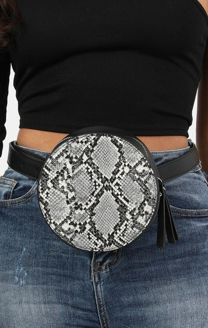 Circle Animal Snake Print Belt Bag - Courtney