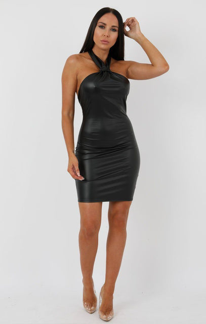 Black Faux Leather Knot Bodycon Mini Dress - Justine
