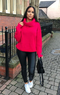 Pink Extreme Polo Neck Oversized Jumper - Amber