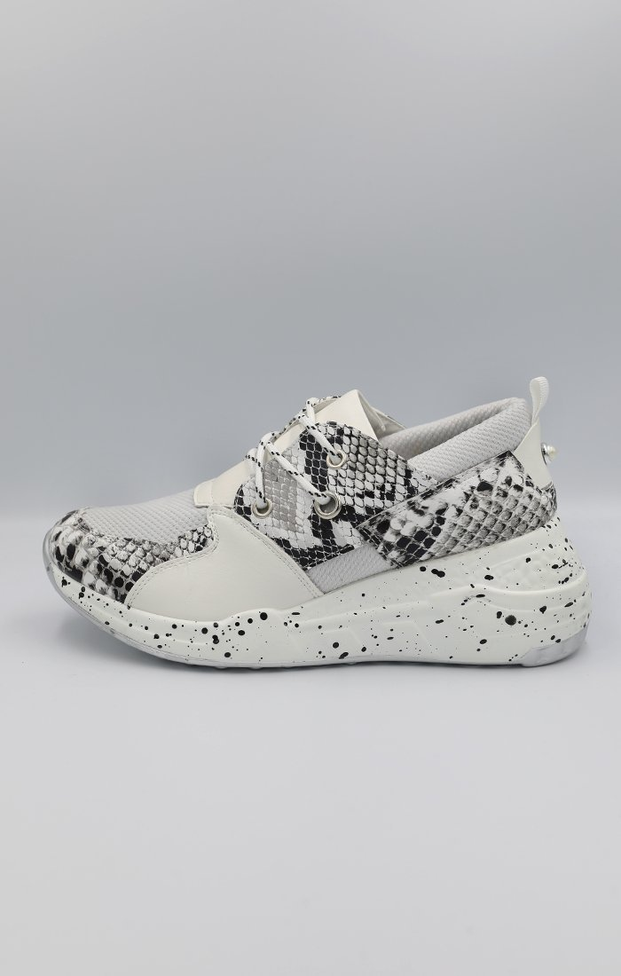 Black and White Snake Print Trainers - Sophia